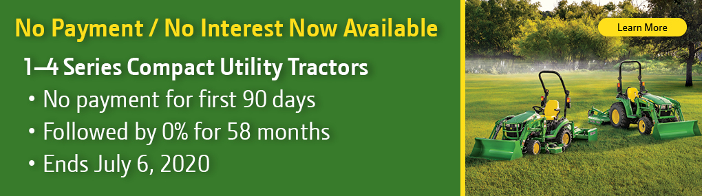 90 Days No Payment No Interest on Tractors Banner