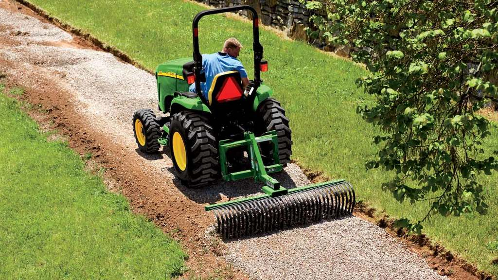 field image of Frontier LR20 series landscaping rake on a tractor