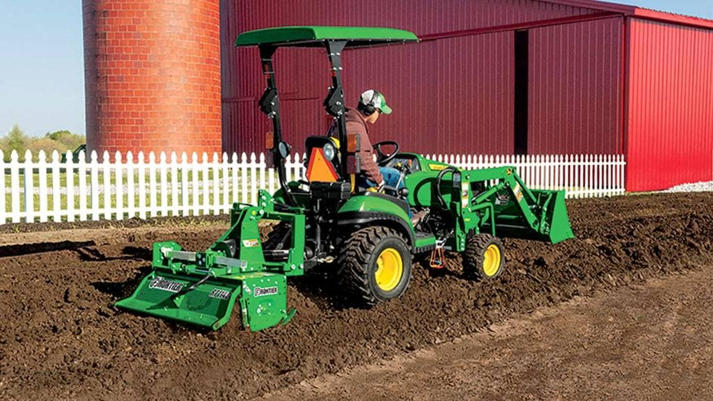 field image of Frontier RT11 series rotary tiller on a tractor