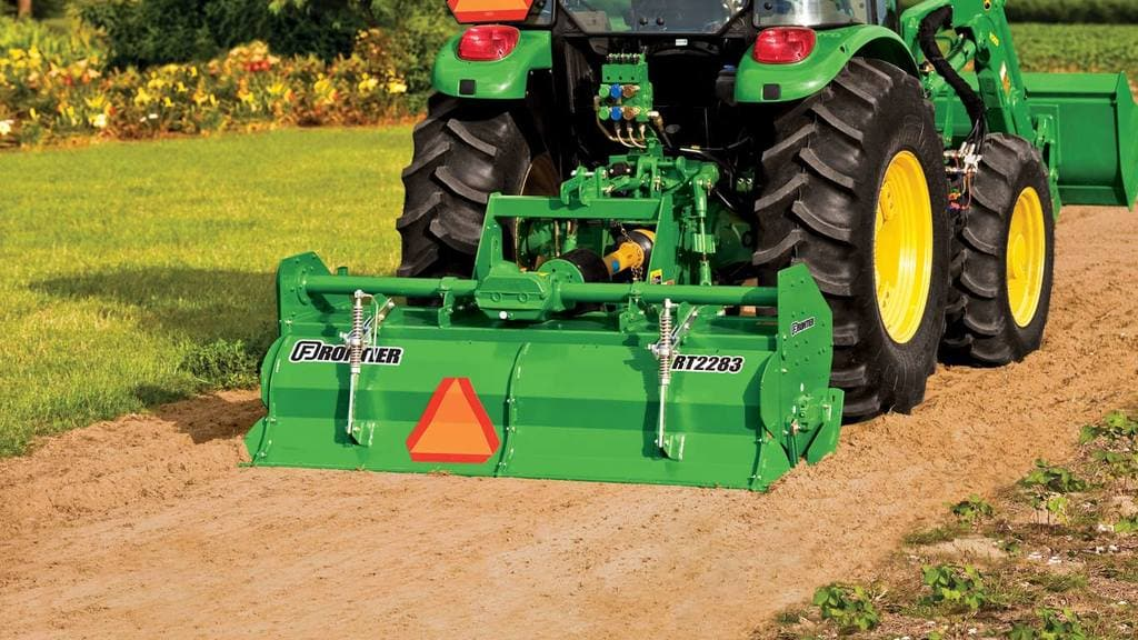 field image of Frontier RT22 Series rotary tiller on a tractor
