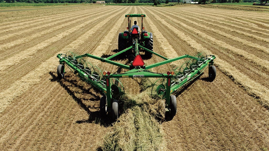 field image of Frontier™ wr12 wheel rake attached to a tractor