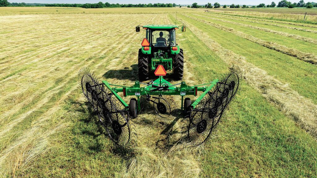 field image of Frontier™ wr31 wheel rake attached to a tractor