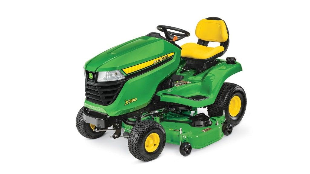 studio image of John Deere X330 lawn mower with a 48-in deck