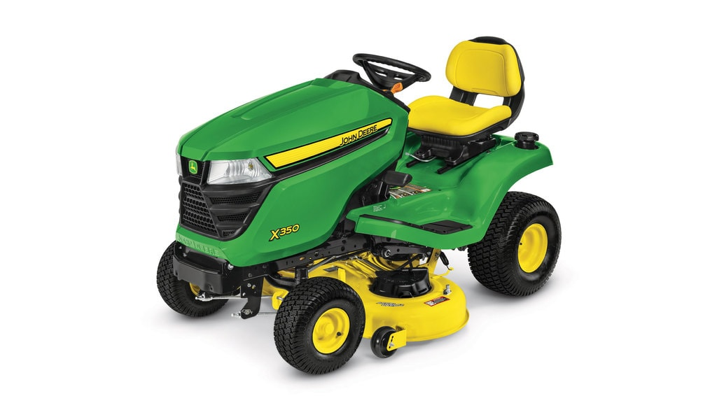 Three-quarter view of X350 lawn tractor with 42 inch deck