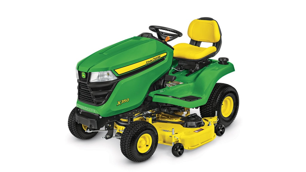 Three-quarter view of X350 lawn tractor with 48 inch deck