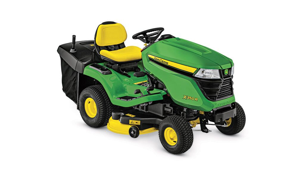 Three-quarter view of X350R lawn tractor