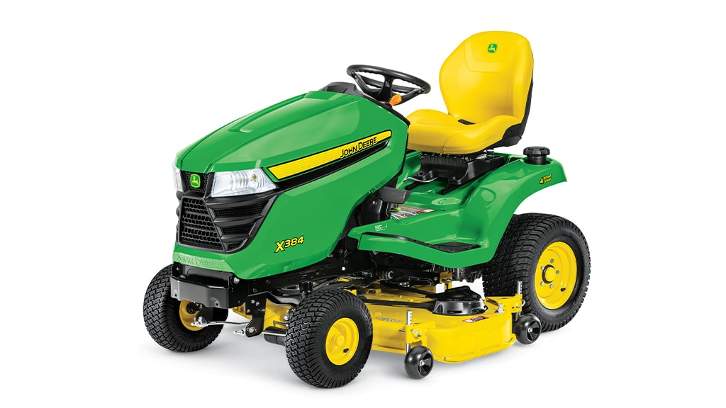 Three-quarter view of X384 lawn tractor with 48 inch deck