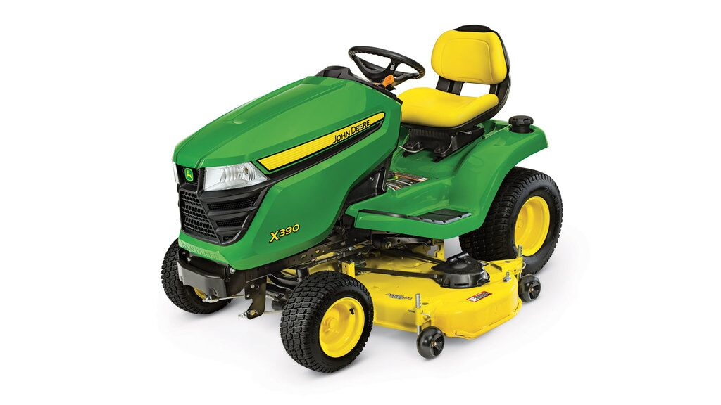 Three-quarter view of X390 lawn tractor with 54 inch deck