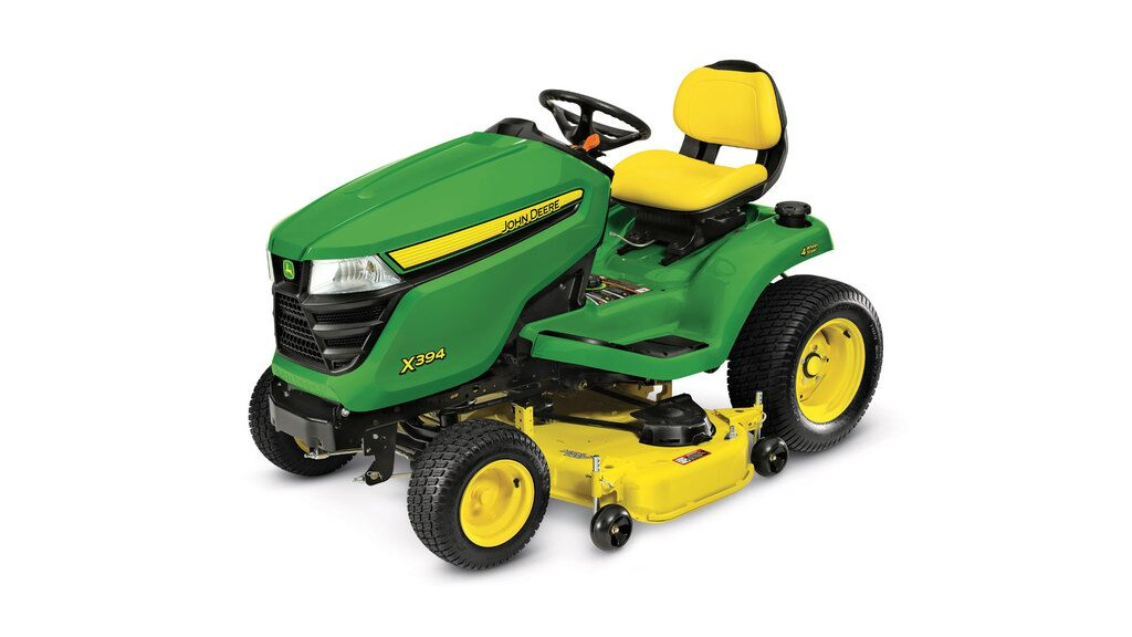 Three-quarter view of X394 lawn tractor