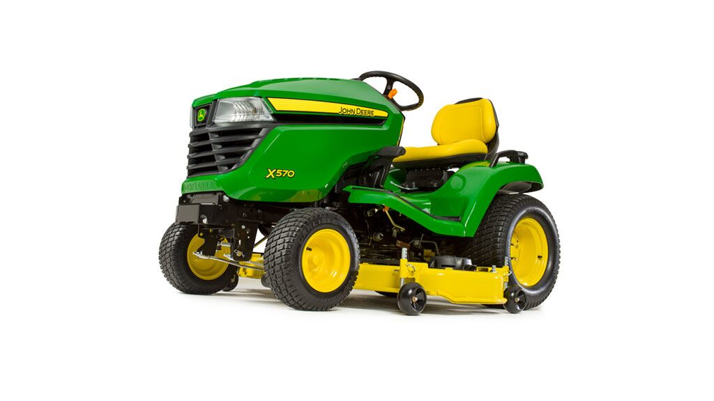 Three-quarter view of X570 lawn tractor with 48 inch deck