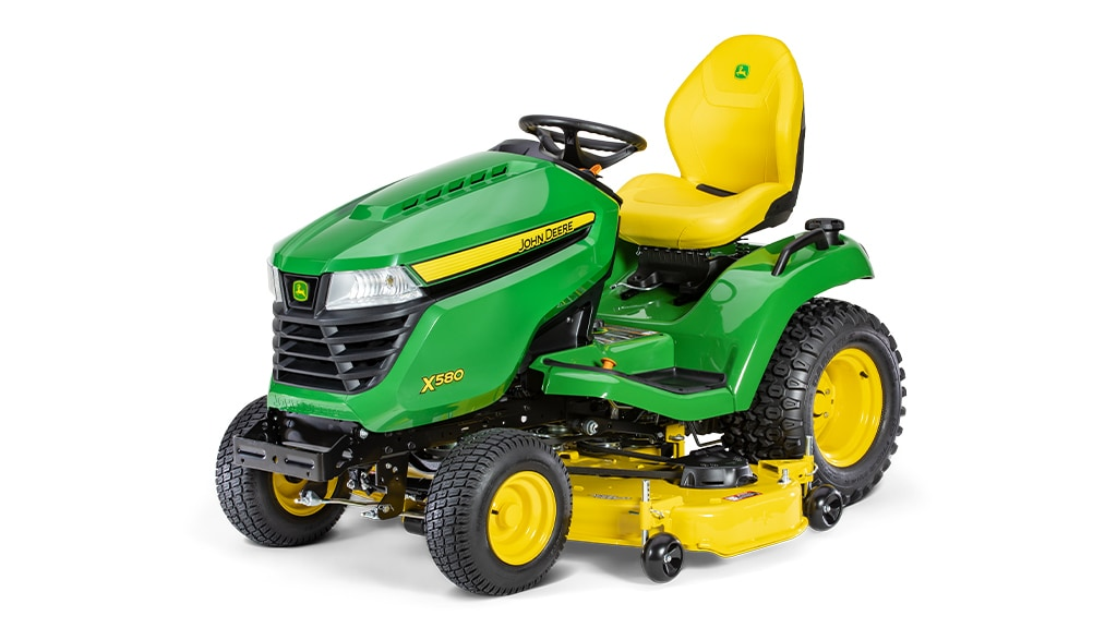 Three-quarter view of x580 lawn tractor with 54 inch deck