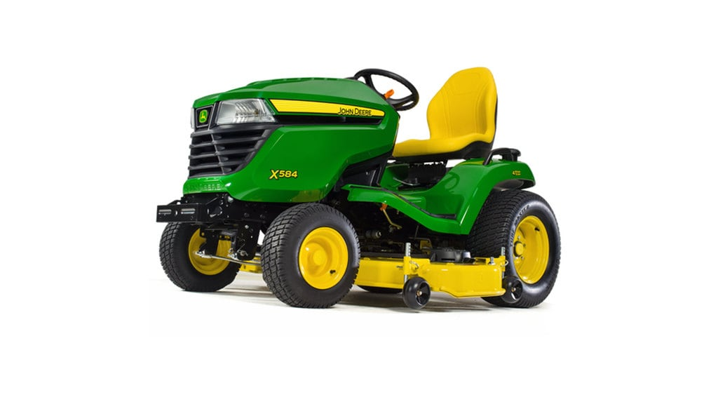 Three-quarter view of x584 lawn tractor