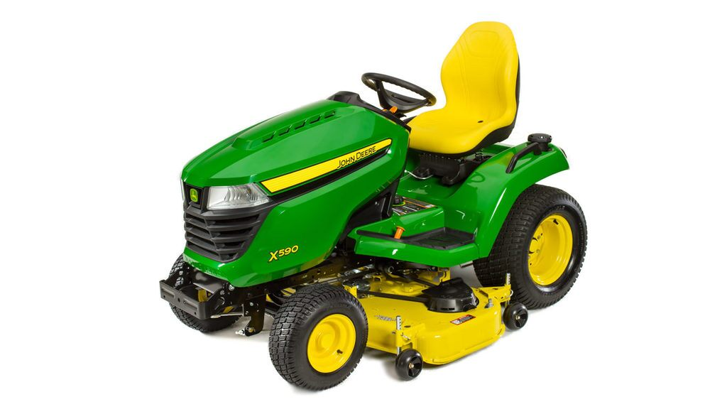 Three-quarter view of x590 lawn tractor with 48 inch deck