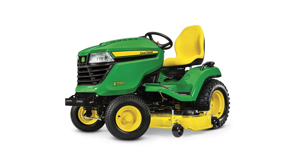 Three-quarter view of x590 lawn tractor with 54 inch deck
