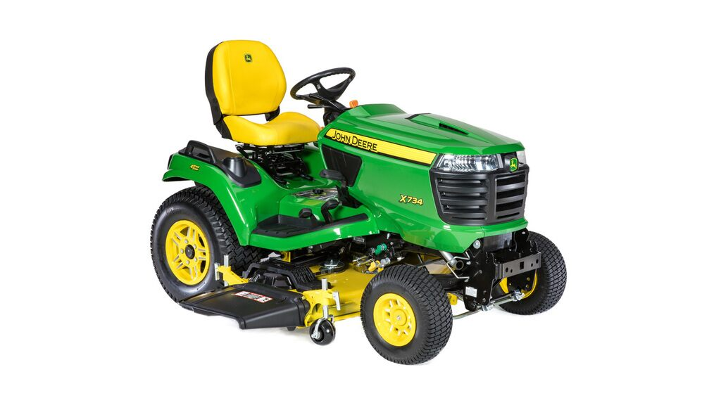 studio image of the x734 Signature Series lawn tractor with 54 inch deck