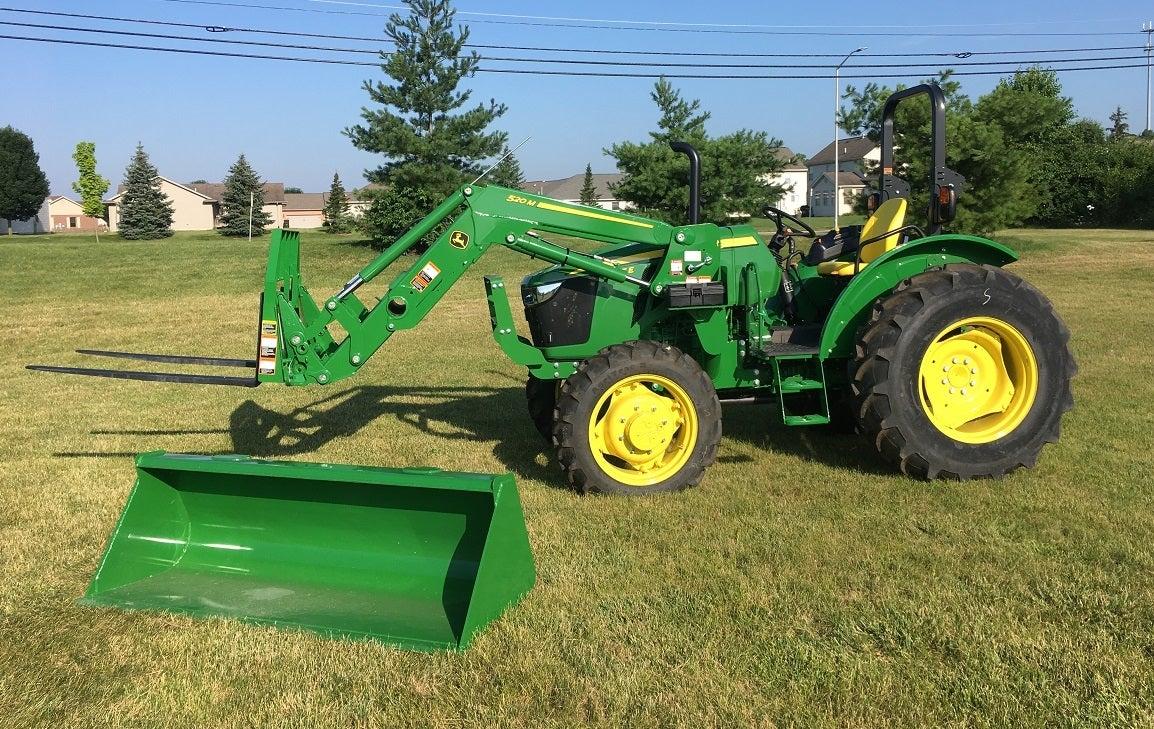 John Deere 5055E Utility Cab Tractor, 520M Loader, Pallet Forks