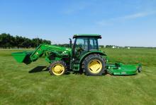John Deere 5055E Tractor, Loader, Rotary Cutter