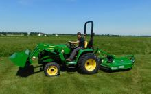 John Deere 3038E Tractor, Loader and Rotary Cutter