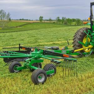 field image of Frontier™ rr21 rotary rake attached to a tractor