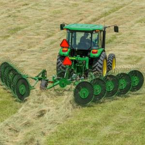 field image of Frontier™ WR00 wheel rake attached to a tractor