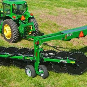 field image of Frontier™ wr54 wheel rake attached to a tractor