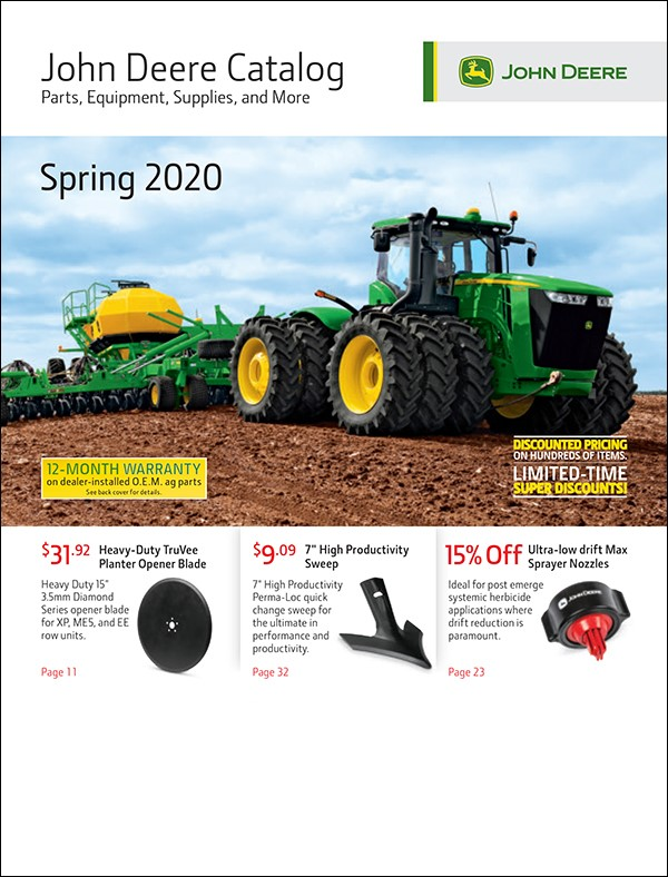 John Deere Spring 2020 Parts Catalog Cover